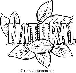naturlig, mat, skiss
