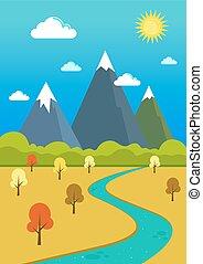 naturlig, mountains, flod, och, dal, landskap