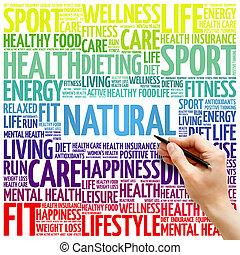 naturlig, ord, moln, fitness