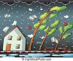 naturlig, orkan, katastrof, scen