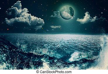 naturlig skönhet, abstrakt, bakgrunder, design, ocean, din