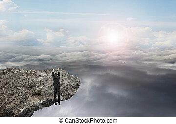 naturlig, sky, hand, clou, dagsljus, hängande, affärsman,...