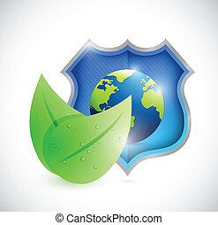 naturlig, skydda, eco, klot, illustration, design