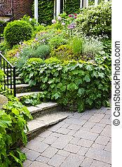 naturlig, sten trädgård, trappa