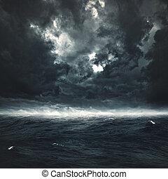 naturlig, stormig, abstrakt, bakgrunder, design, ocean., din