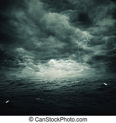 naturlig, stormig, abstrakt, bakgrunder, design, ocean, din