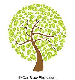 naturlig, träd