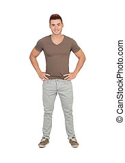 naturlig, unga manar, med, jeans