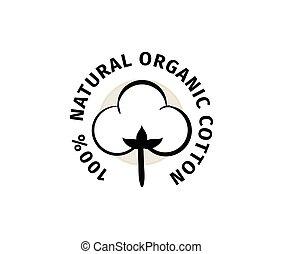 naturlig, vektor, organisk, label., bomull