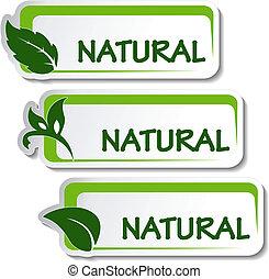 naturlig, vektor, stickers, blad