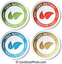 naturlig, vektor, stickers
