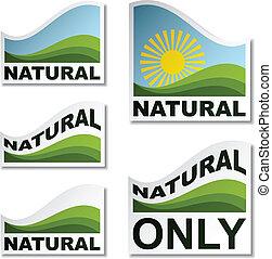 naturlig, vektor, stickers, landskab