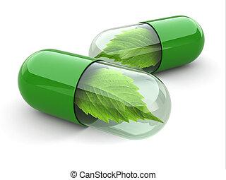 naturlig, vitamin, pills., alternativ, medicine.