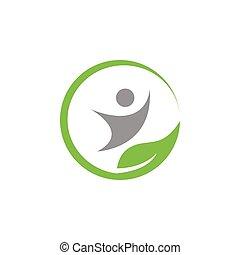 naturlig, wellness, vektor, konstruktion, skabelon, logo, ikon
