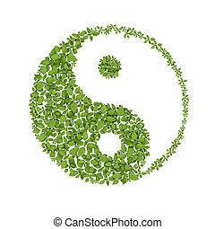 naturlig, yin, symbol, harmonies, yang, blommig, ikon