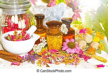 Naturopathy and aromatherapy still life with a pestle and...