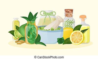 naturopathy, citron, blomma, medicin, vektor, aromatherapy, ...