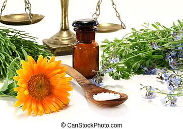 Naturopathy - fresh medicinal herbs and globules on a light ...