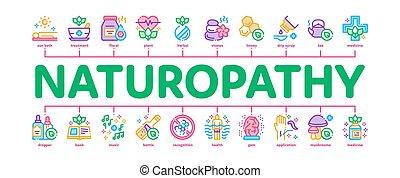 naturopathy, minimal, baner, medicin, vektor, infographic, ...