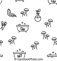 Naturopathy Therapy Vector Seamless Pattern Thin Line Illustration