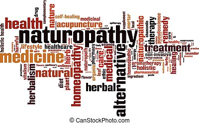 Naturopathy word cloud concept. Vector illustration