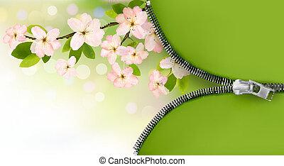natuur, achtergrond, met, bloeien, boompje, brunch, en, lentebloemen, en, zipper., vector, illustration.