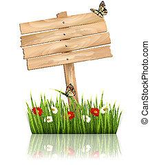 natuur, achtergrond, met, groen gras, en, bloemen, en, houten, meldingsbord, vector.