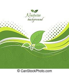 natuur, achtergrond, met, groene, leaves.