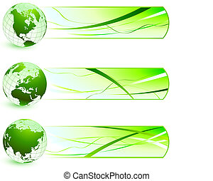natuur, banieren, groene, iconen