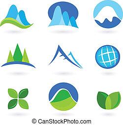 natuur, berg, en, turism, iconen