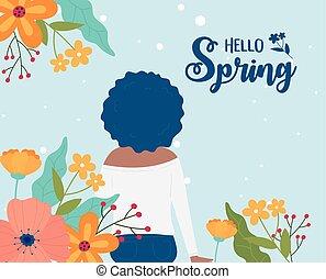 natuur, bloemen, haar, lente, krullend, vrouw, hallo