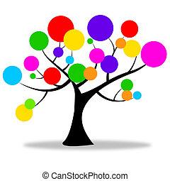 natuur, cirkels, middelen, de boomstam van de boom, en,...