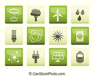 natuur, ecologie, energie, iconen, groene achtergrond, op