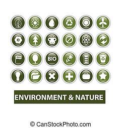 natuur, ecologie, glanzend, knopen, set, vector