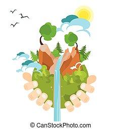 natuur, globe, hand, milieu, groene, houden