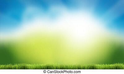 natuur, groen gras, blauwe hemel, natuur, lente, zomer, 3d, render, achtergrond