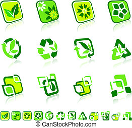 natuur, groene, iconen