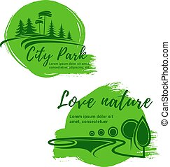 natuur, iconen, milieu, vector, groene, gaan