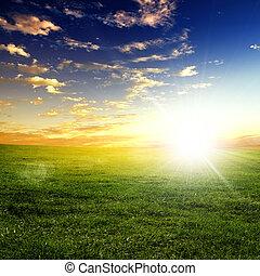 natuur landschap, en, de, ondergaande zon