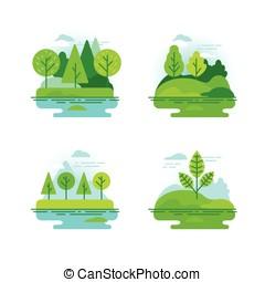 natuur, landschappen, met, groene bomen