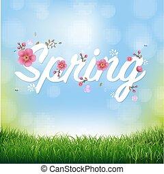 natuur, lente, achtergrond, tekst, gras, grens