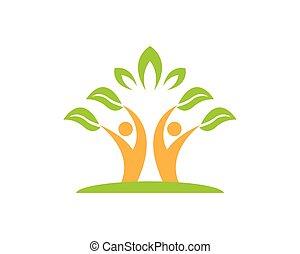 natuur, mensen, vector, gezondheid, mal, logo