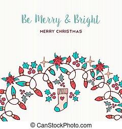 natuur, ornament, hand, vrolijk, getrokken, kerstmis kaart