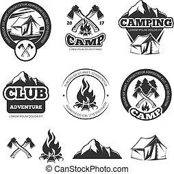 natuur, ouderwetse , etiketten, set, voor, verkenner, camp., kamperen, kentekens, met, toerist, tent., avontuur, vector, illustraties