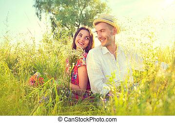 natuur, paar, jonge, buitenshuis, het genieten van, vrolijke