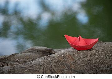 natuur, papier, rood, origami, of, scheepje