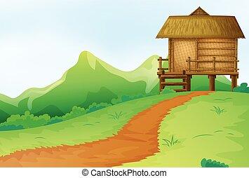 natuur scène, met, bungalow, op, de, heuvel