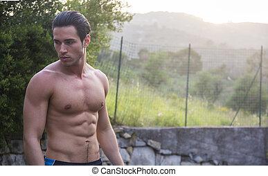 natuur, shirtless, jonge, gespierd, aantrekkelijk, man