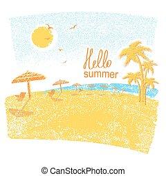 natuur, symbool, vakantie, tropische , palms.vector, strand, paraplu's