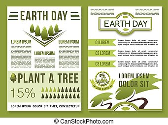 natuur, vector, groene aarde, affiches, dag